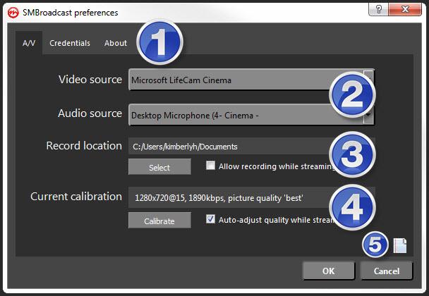 Streamate SMbroadcast settings